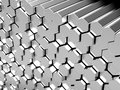 Hexagon metal bars Stock Photos