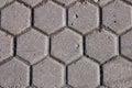 Hexagon pattern cement sidewalk Royalty Free Stock Photo