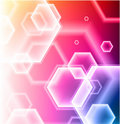 Hexagon Shapes on Colorful Abstract Background Stock Photography