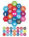 Hexagon Social Media icons Royalty Free Stock Photo