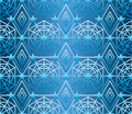 Hexagon star many line blue seamless pattern
