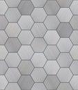 Hexagonal aluminum tiled seamless texture brushed alunimun tiles as a high detail background Stock Photo