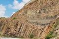 Hexagonal columns of volcanic origin at the hong kong global geopark in hong kong china Royalty Free Stock Image