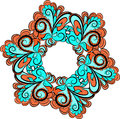 Hexagonal floral pattern abstract hexagona red cyan with ornament Stock Photos