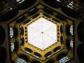 Hexagonal glass ceiling underside view of a building interior looking up towards a vienna austria Stock Photos