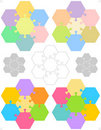 Hexagonal jigsaw puzzles Stock Photos