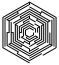 Hexagonal maze vector of on a white background Royalty Free Stock Images