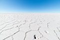 Hexagonal shapes on the uyuni salt flat bolivia wide angle view of world famous among most important travel destination in Royalty Free Stock Photography