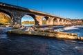 Hexham Bridge and Fish Pass Royalty Free Stock Photo