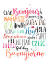 Hey howdy hello in different languages with watercolors Stock Photo
