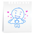 Hey love you cartoon on paper note hand draw Royalty Free Stock Images