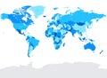 Hi Detail Blue Vector Political World Map illustration