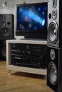 Hi-fi system, speakers and tv for monitoring video production Royalty Free Stock Photo