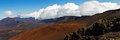 Hi res x panorama banner overlooking haleakala crater on maui hawaii Royalty Free Stock Photos