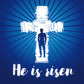 Hi is risen shining cross card