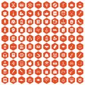 100 hi-school icons hexagon orange