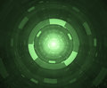 Hi tech abstract background green circular tunnel Stock Images