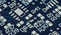 Hi-tech background. Close-up photo, blue circuit. Cyberpunk futuristic design