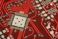Hi-tech background. Close-up photo, red circuit. Cyberpunk futuristic macro design