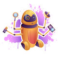 Hi tech cartoon futuristic robot with devices on grunge background Royalty Free Stock Photos