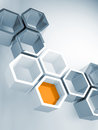 Hi tech concept with honeycomb structure abstract background blue Royalty Free Stock Photos