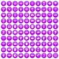 100 hi-tech icons set purple