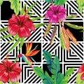 Hibiscus bird of paradise leaves geometric black white seamless
