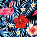 Hibiscus flamingo plumeria palm leaves blue pattern Royalty Free Stock Photo