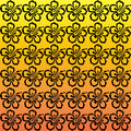 Hibiscus flower pattern black repeating flowers against a orange to yellow gradient background Stock Images