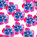 Hibiscus flower watercolor seamless pattern. Bright tropical flowers isolated on white background, hand-drawn design. Royalty Free Stock Photo