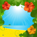 Hibiscus flowers and beach scene Royalty Free Stock Images