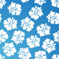 Hibiscus Pattern - Blue Royalty Free Stock Photo