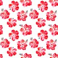 Hibiscus red flowers watercolor seamless pattern