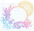 Hibiscus Summer Beach Vector Sketchy Doodle Royalty Free Stock Photo