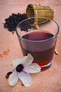Hibiscus tea hibiscus sabdariffa flower and sepals dried for i also known as karkadé or roselle infusions Stock Photo