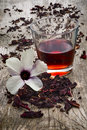 Hibiscus tea hibiscus sabdariffa flower and sepals dried for i also known as karkad� or roselle infusions Stock Image