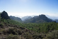 Hicking to roque nublo view from the hike in gran canaria spain Royalty Free Stock Photos
