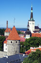 Hictoric center of tallinn view the and its towers from the top estonia photo taken on july Royalty Free Stock Photo