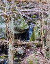 A Hidden Cascading Waterfall in Blue Ridge Mountains Royalty Free Stock Photo