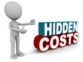 Hidden costs being pointed out by a little man on white concept of not foreseen in initial planning Royalty Free Stock Photos