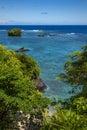 Hidden cove on tropical island of samoa Stock Photos