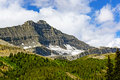 Hidden glacier on a jagged peak near nigel pass in the canadian rockies Royalty Free Stock Photo