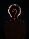 Hidden identity who is this person front view of man in black shadow with a red question mark in front of his face on black Royalty Free Stock Photography