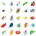 Hidden information icons set, isometric style