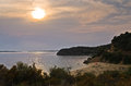 Hidden sandy beach at west coast of sithonia before sunset greece Stock Image