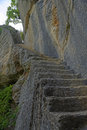 The hidden staircase in Fort de Buoux Royalty Free Stock Photo