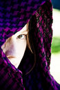 Hidden woman on veil Royalty Free Stock Photos
