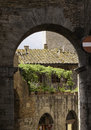 Hideaway in san gimignano nice green the crowdy city of Stock Photography