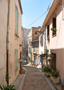 The hiden road to the arles amphitheatre narrow streets have their own charme and could bring you main landmark of city Royalty Free Stock Photography