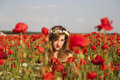 Hiding playing hide and seek in a poppy field Royalty Free Stock Photos